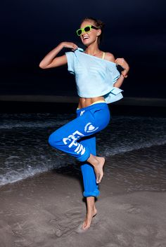 Blue crush. Elsa in a PINK Crop Tee and Campus Pant.