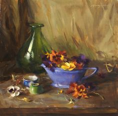 """Pansies with Blue Porcelain"" - Originals - Archives - Still Life - Quang Ho | Fine Art World"