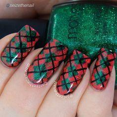 Holiday nails using Motives nail lacquers. Enhancing Looks Christmas Manicure, Holiday Nails, Plaid Nails, Nail Art Supplies, Classy Nails, Holiday Makeup, Beautiful Nail Designs, Fun Nails, Etsy Store