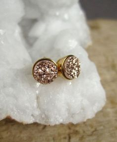 BACK IN STOCK AFTER 3X SELLOUT! Tiny Rose Gold Druzy Earrings Titanium Drusy by julianneblumlo