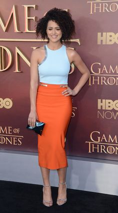 Nathalie Emmanuel, who plays Missandei on Game of Thrones, attended the show's San Francisco premiere in a blue and orange set from Mugler.