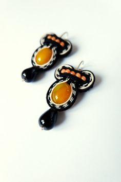 small soutache earrings pendant earrings black and yellow agthe gemstone autumn jewelry boho gypsy style