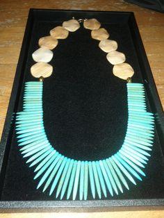 Turquoise,Wood Jasper beaded Statement necklace