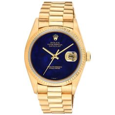 Rolex Yellow Gold Lapis Lazuli Stone Dial Oyster Perpetual Datejust Wristwatch   See more rare vintage Wrist Watches at https://www.1stdibs.com/jewelry/watches/wrist-watches