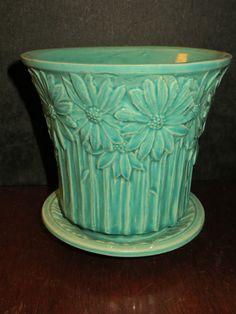 "McCoy daisy flowerpot  attached saucer 6"" aqua turquoise 1940s vintage pottery"