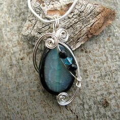 Teal Dragon Vein Agate Necklace - Silver Wire Wrapped Pendant