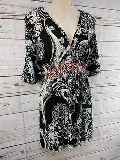 499191ae7b148 Liz Lange Maternity Top Size Large Black White Floral Stretch Tie Back 229  #fashion #