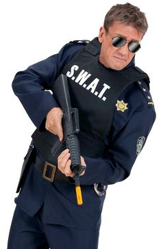 ADULTS FANCY DRESS POLICE SWAT T SHIRT GUN GLASSES HAT STAG HEN ARMY 4 PIECE SET