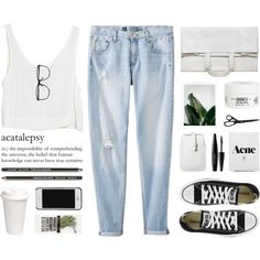 basics by modernyouth on Polyvore featuring Mode, MINKPINK, Mossimo, Maison Margiela, MAKE UP FOR EVER, Kiehl's, HAY and Converse
