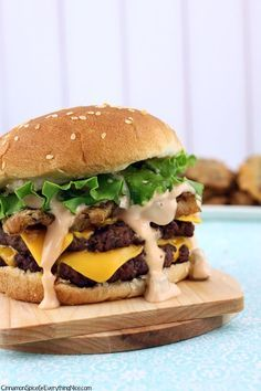 Fried Pickle Double Cheeseburgers with Big Mac Sauce #recipes #beef #burgers