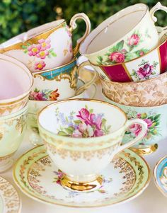Antique tea cups.../Beautiful tea cups .Have lots of different ones .also  tea pot sets .It's tea time again ladies .Don't forget the desserts.