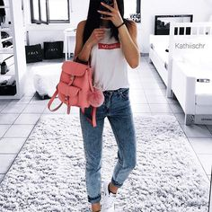 "Instagram media kathiischr - ""Sold Out"" top from @rad  favorite backpack from @grafea  #ootd#new#top#favorite#backpack#pink#best#loveit#look#today#casual#white#sneakers#nike#outfit#selfie#outfitoftheday#lookoftheday#style#fashion#girl#selfietime#weekend#sunday"