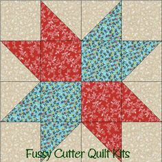 Blue Red Floral Flowers Calico Fabric Easy Pre-Cut Quilt Blocks Kit