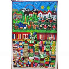 These vibrant textiles are hand made by Peruvian women. Arpillera depict scenes from daily life with different motifs including people, animals , fruit and vegetables set in the landscape Peruvian Women, Peruvian Art, Textiles, Arte Popular, Deco, Art Education, Textile Art, South America, Fiber Art