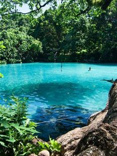Blue Lagoon, Jamaica.  The water is amazing to swim in. Cold and warm pockets as you swim.