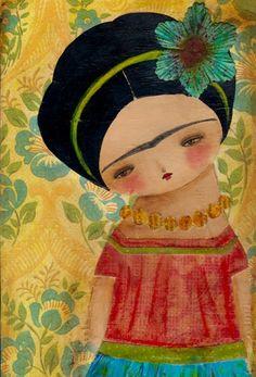 Frida With A Big Blue Flower, Danita Art