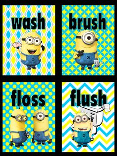 Minions Wash Brush Floss Flush Kids by SnazzyZebraGalleria on Etsy