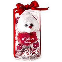 Valentines Day Love Teddy Bear, Miniature I Love You Teddy Bear with Heart Milk Chocolate - Oh! Nuts