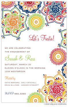 Fiesta Invitations, Red Indie Floral , 32157