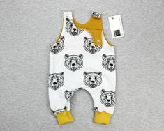 Baby romper, boy romper, bear face romper, mustard romper, baby outfit, baby clothes, newborn outfit, white romper NB - 2 years
