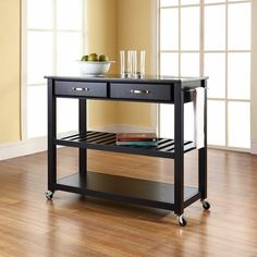 Solid Black Granite Top Kitchen Cart / Island With Optional Stool Storage in Black Finish
