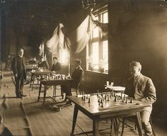 Fantastic shot of a chess tournament in Houston Hall, 1908