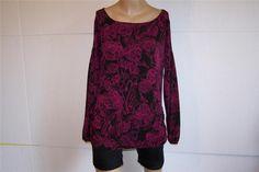 WORTHINGTON Tunic Top Shirt Sz L Purple Black Floral Stretch Long Sleeves #Worthington #Tunic #Casual