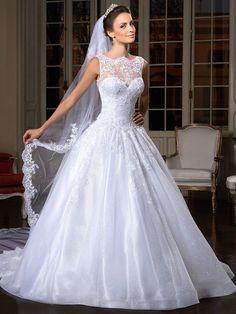 A-line/Princess High Neck Court Train Organza Wedding Dress With Applique