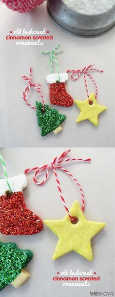 Old Fashion Cinnamon Scented Ornaments. An easy tutorial for homemade Christmas ornaments. #saltdoughornament #homemadeornament #ornamentcraft