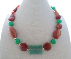 Agate necklace green jade necklace chunky necklace by Sofiasbijoux