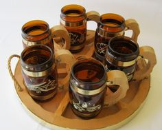 Vintage Siesta Ware Western Style Barrel Mugs w Wood Tray Amber Glass 7 Pieces