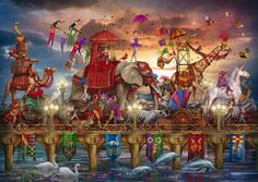 Circus Procession, Ciro Marchetti - A marvellous, mystical and majestic 1000 piece #jigsaw by the talented illustrator Ciro Marchetti.  The rich and vibrant colours will beckon you to join the procession – follow the jesters, lead the elephant and twirl your way around the unicorn… Available at www.coiledspring.co.uk #circus