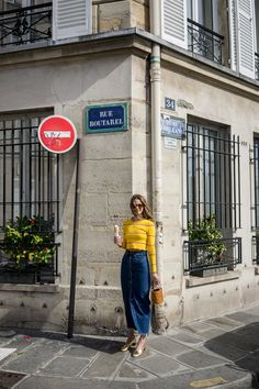 Sunshine Yellow — Rue Rodier Www.ruerodier.com By Marissa Cox I'm wearing: Topshop Unique Top / Weekend Denim Skirt / Simon Miller Bag, / Garrett Leight Sunglasses, / Martiniano Pumps, / Missoma Pendant Necklace Paris Marais  Île saintlouis  Photography Blog  Walking around Paris France