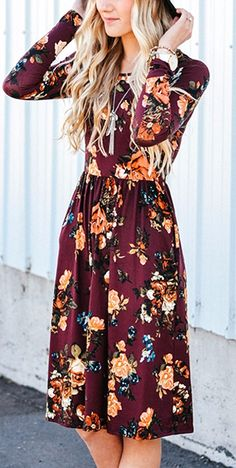floral printed vine red dress #omgoutfitideas #stylish #lookoftheday