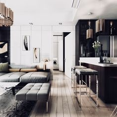 Here are the Small Apartment Interior Design Ideas. This article about Small Apartment Interior Design Ideas was posted under the … Zeitgenössisches Apartment, Small Apartment Interior, Modern Apartment Design, Contemporary Apartment, Contemporary Interior Design, Modern House Design, Decor Interior Design, Contemporary Style, Modern Apartments