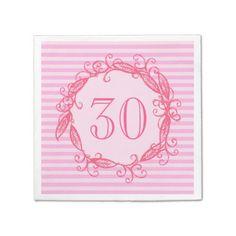 Shop Women's Birthday Pink White Black Swirly Paper Napkins created by TheBirthdayHub. 90th Birthday Parties, Adult Birthday Party, Pink Birthday, Party Napkins, Pink White, Paper, Black, 30th, Striped Background