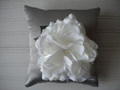 White Rose Ring Bearer Pillow by DaniCalve on Etsy, $25.00