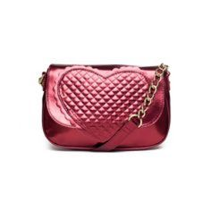Red Metallic Heart Bag! Precious Betsey Johnson purse! The heart is quilted and there is a scallop trim  This bag has been used and loved - like most metallic fabrics, there are lines where it has bent. It has a lot of glam life left! Betsey Johnson Bags Crossbody Bags