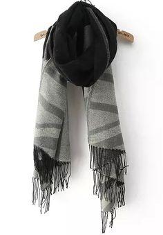 Écharpe classique avec franges motif plaid -Noir gris   Accessoires    Pinterest   Plaid noir, Plaid et Franges 88a5b840b47