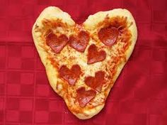 heart shaped pizza and pepperoni