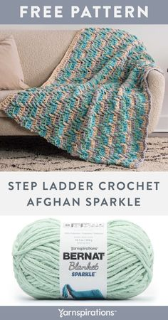 Free Step Ladder Crochet Afghan Sparkle pattern using Bernat Blanket Sparkle Yarn. Show off this wonderful crochet afghan featuring a fascinating graphic design and texture. Long double treble stitches worked into rows below, create ladder-like dips of creamy colors on this simple striped afghan. #Yarnspirations #FreeCrochetPattern #CrochetAfghan #CrochetThrow #CrochetBlanket #DoubleTrebleStitch #BernatYarn #BernatBlanketSparkle Bernat Yarn, Afghan Patterns, Crochet Blanket Patterns, Knit Or Crochet, Free Crochet, Ladder, Free Pattern, Dips, Stitches