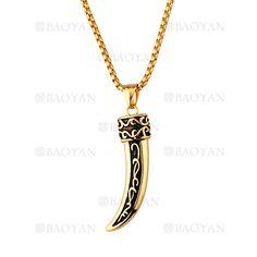 collar fina con dije de diseno moda en acero dorado inoxidable -SSNEG1133376