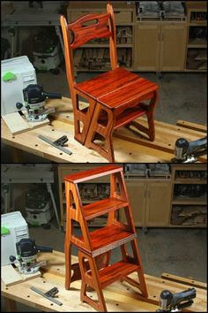 #woodworkingplans #woodworking #woodworkingprojects Convertible step stool chairs can be found in furniture stores. But if you are an aspiring woodworker, building it yourself is a good way to improve your woodworking skills! You get to practice using various advanced tools in this DIY project. You also get to learn how to be more accurate with measurements and cutting. This project doesn't need a lot of timber. #WoodworkingProjectsAdvanced