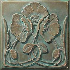 Art nouveau poppies tile