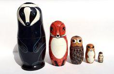 Animals Nesting dolls - Matryoshka - Russian nesting doll -Stacking dolls- Skunk - Fox - Owl - Squirrel - Hedgehog