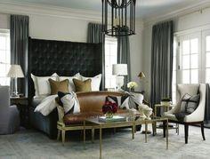 chambre en nuances grises avec tête de lit noire capitonnée