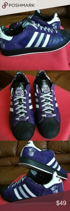 Adidas NBA Sacramento Kings.WOMEN size 11 and 11.5 This shoes is used but used gently. It has it's own meaning and colors plus its origin.Beautiful piece for your casual outings..Women size 11 and 11.5 can have a feel of this awesome shoes. This is rated 7.5/10 as it has tiny scuffs here and there but nothing major. Adidas Shoes Sneakers