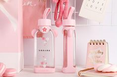 Things To Buy, Girly Things, Sakura Cherry Blossom, Kawaii Accessories, Cute Cups, Glass Water Bottle, Office And School Supplies, Stationery, Kawaii Stuff