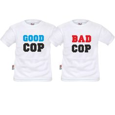 Deux tee shirts enfant jumeaux : good cop / bad cop - SiMedio