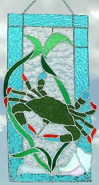 """Blue Crab Stained Glass Suncatcher Panel - 9"""" x 17"""" - www.AccentOnGlass.com"""